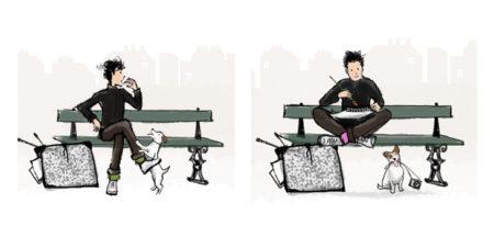 Illustration style BD, homme et chien