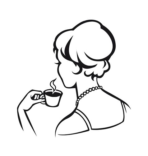 Création illustration pour le logo, La Dame Blanche, café