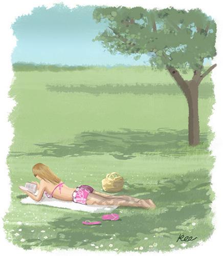 illustration femme couchée dans l'herbe