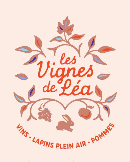 Création identité visuelle, logo, les vignes de Léa, Vins, Lapins plein air, Pommes