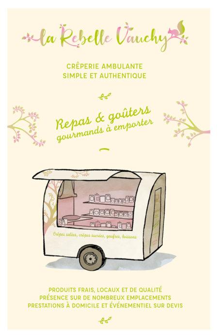 Mise en page flyer food truck, illustration, logo